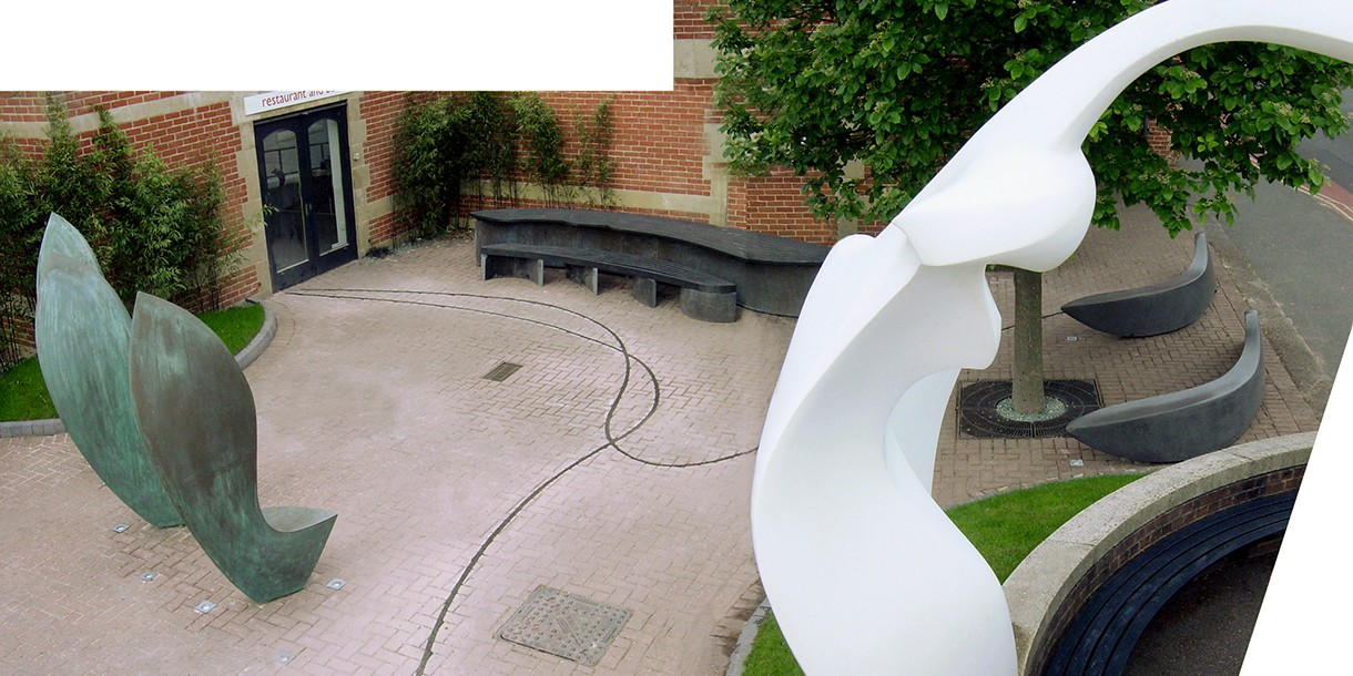 Sculpture installation - outdoor bronze seating by Ben Barrell