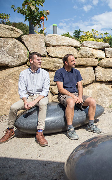 Pebble Seats at Tremenhere Sculpture Gardens in Cornwall