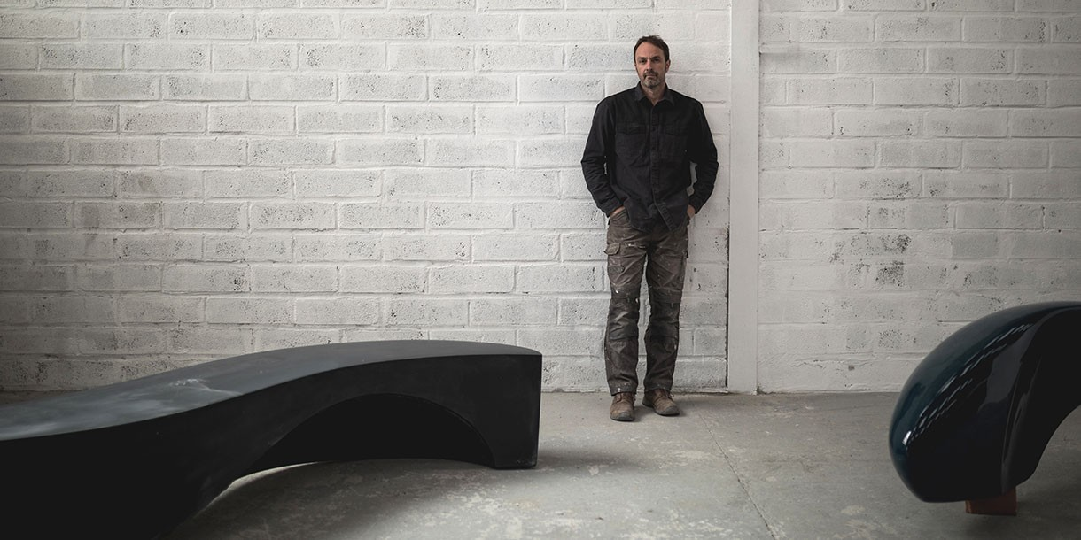 Barrell Artist in Studio with Sculptural Seating