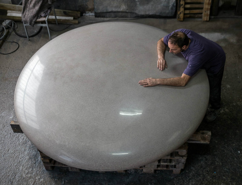 Pebble Seat Sculpture Coriolis Polished concrete