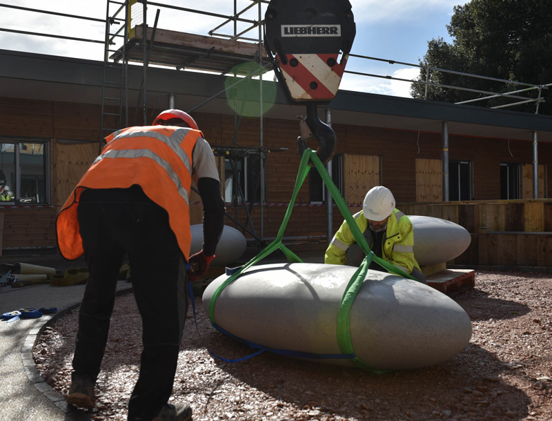 Pebble Seats being installed at Exeter MBU